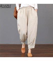 zanzea loose women básico de cintura alta pantalones capris cosechado más el tamaño de los pantalones -beige