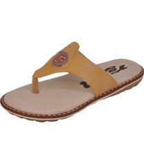 sandália infantil raniel calçados papete chinelo dedo com costura mostarda