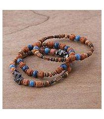 hematite and ceramic beaded stretch bracelets, 'andean eyes' (set of 3) (peru)