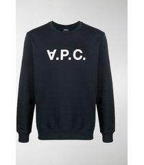 a.p.c. logo-print round neck sweatshirt