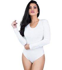 body mvb modas manga longa veludo collant feminino - feminino