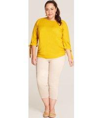 pantalón crop elástico beige 20