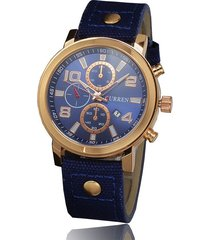 curren / 8199 reloj de hombre con correa de lona-azul