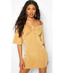 textured slinky off the shoulder twist mini dress, gold