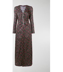 miu miu button-embellished printed maxi dress