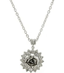 "2028 silver-tone crystal flower pendant necklace 16"" adjustable"