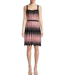 wavy-knit a-line dress