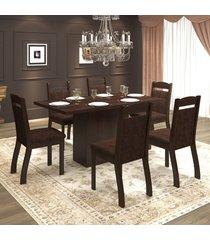 mesa de jantar 6 lugares tafetá  ameixa/chocolate - mobilarte móveis
