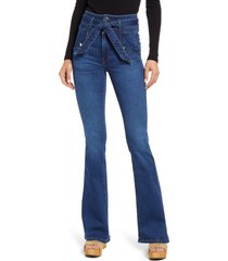 veronica beard women's giselle high waist slim flare jeans, size 28 in bright blue at nordstrom