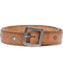 htc los angeles stud-embellished leather belt - brown
