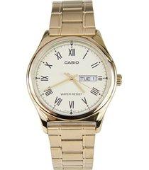 reloj casio caballero elegante mtp-v006g-9b color dorado