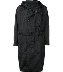 neil barrett casaco com capuz e cinto - preto