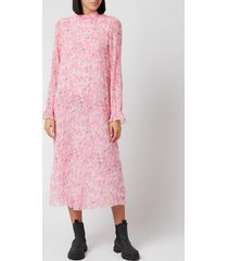 ganni women's printed georgette dress - sweet lilac - eu 40/uk 12