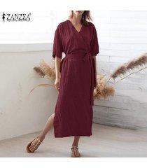 zanzea camisa de manga corta con cuello en v para mujer vestido largo túnicas vestido a media pierna tallas grandes -rojo