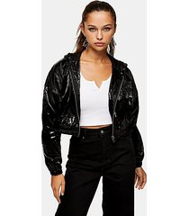 black wet look cropped jacket - black