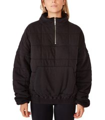 cotton on women's quilted zip through fleece sweater