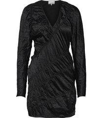 crinkled satin dresses cocktail dresses svart ganni