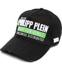 philipp plein made for kings distressed cap - black