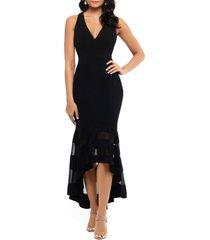 women's xscape high/low flounce midi dress