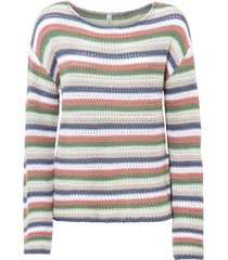 maglione oversize a righe (beige) - rainbow