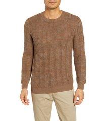 men's paige karsen regular fit crewneck sweater, size medium - brown