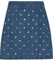 ganni studded denim skirt - blue
