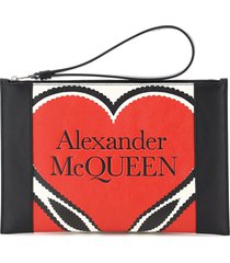 alexander mcqueen leather pouch heart print
