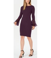 calvin klein chiffon button-sleeve dress