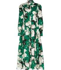 erdem josianna floral print flared shirt dress - green