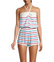 chaser women's striped blouson romper - stripe - size m