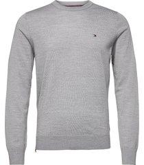 fine gauge merino wool crew neck stickad tröja m. rund krage grå tommy hilfiger tailored