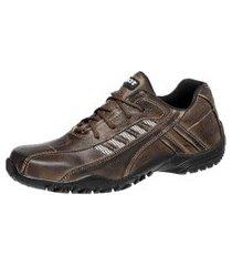 sapatênis tchwm shoes de couro marrom com solado em borracha e fechamento em cadarço marrom/café
