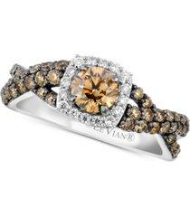 le vian chocolatier diamond halo ring (1-1/8 ct. t.w.) in 14k white gold