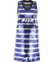 msgm striped sequins dress with logo