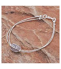 silver beaded pendant bracelet, 'karen pleat' (thailand)