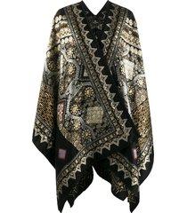 etro wrap cape coat - black