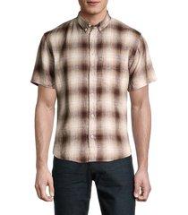 billy reid men's kirby slim-fit plaid linen shirt - brown - size xl