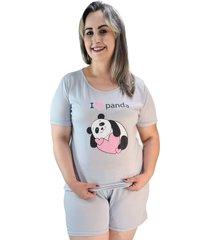 "pijama feminino """"i love panda"""" cinza plus size"