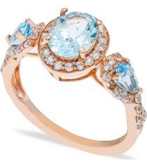 aquamarine (1-1/2 ct. t.w.) diamond (1/2 ct. t.w.) ring in 14k rose gold