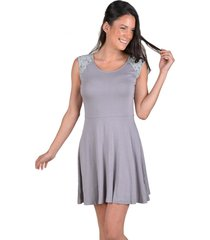 vestido algodon manga encaje gris alexandra cid