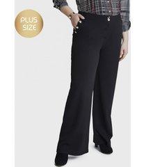 pantalón formal palazzo con botones decorativos en bolsillo negro curvi