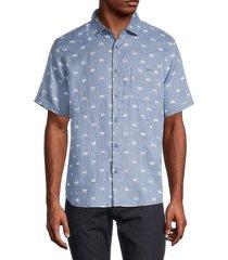 saks fifth avenue men's crab-print linen shirt - denim - size m