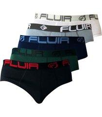 kit 5 cuecas tradicional fluir slip preta/verde/azul/cinza/branca