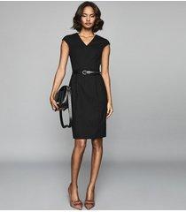 reiss hartley - tailored wool blend dress in black, womens, size 14
