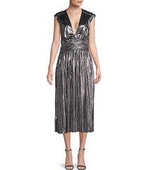 briella metallic pleated dress