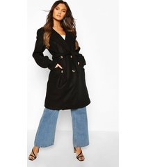 belted wool look double breasted trench coat, black