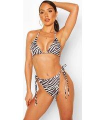 zebra print triangle mix & match bikini top