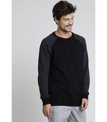 suéter masculino em tricô raglan listrado preto