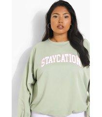 plus staycation sweater, apple green