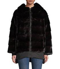 two-tone faux fur jacket